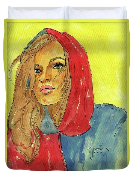 Duvet Cover featuring the painting Hoody by P J Lewis