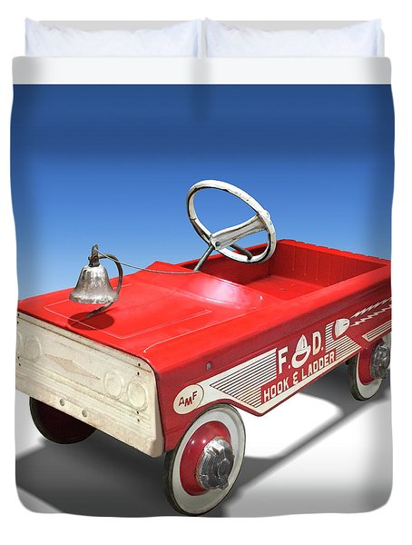 Duvet Cover featuring the photograph Hook And Ladder Peddle Car by Mike McGlothlen