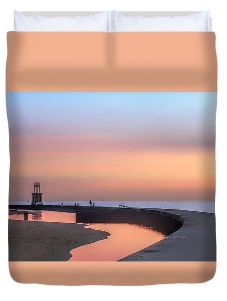 Hook Pier Lighthouse - Chicago Duvet Cover