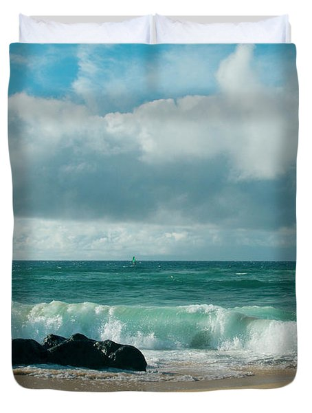 Duvet Cover featuring the photograph Hookipa Beach Pacific Ocean Waves Maui Hawaii by Sharon Mau