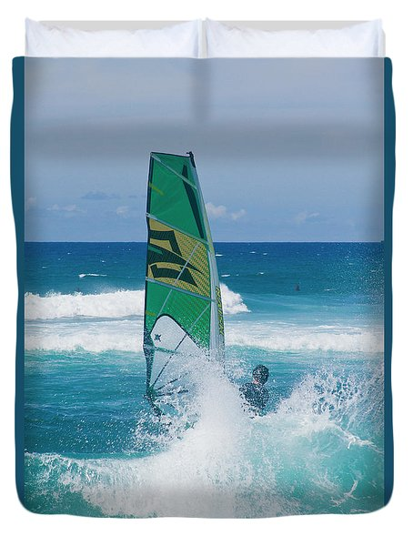 Hookipa Windsurfing North Shore Maui Hawaii Duvet Cover by Sharon Mau