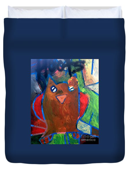 Duvet Cover featuring the painting Hoots The Fall Owl by Janelle Dey