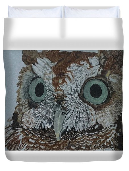 Hooty Who? - Screech Owl Detail Duvet Cover by Anita Putman