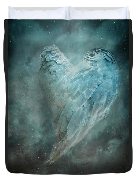 Duvet Cover featuring the digital art Hope Is The Thing With Feathers by Nicole Wilde
