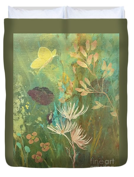 Duvet Cover featuring the painting Hopeful Golden Wings by Robin Maria Pedrero