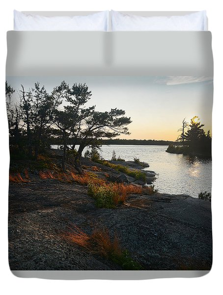 Hopewell Bay Island Rock Grass Duvet Cover