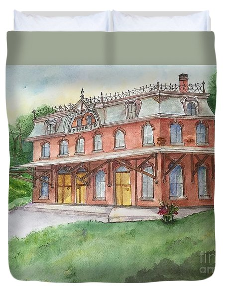 Duvet Cover featuring the painting Hopewell Nj Train Station by Lucia Grilletto