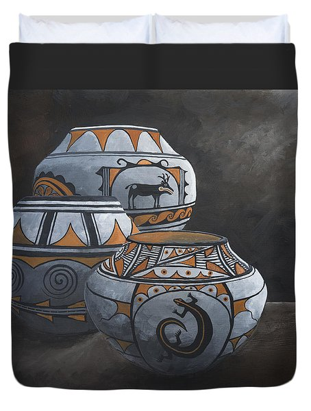 Hopi Pots Duvet Cover by Jerry McElroy
