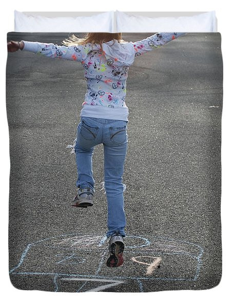 Duvet Cover featuring the photograph Hopscotch Queen by Richard Bryce and Family