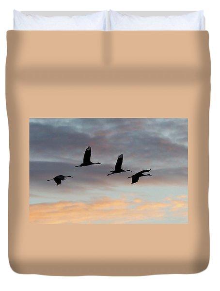 Horicon Marsh Cranes #1 Duvet Cover