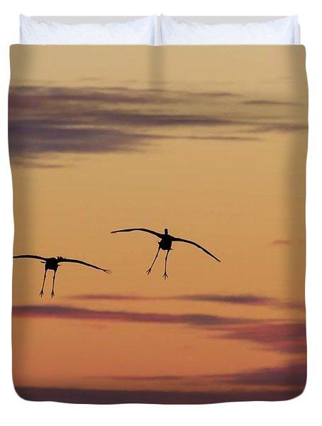 Horicon Marsh Cranes #4 Duvet Cover
