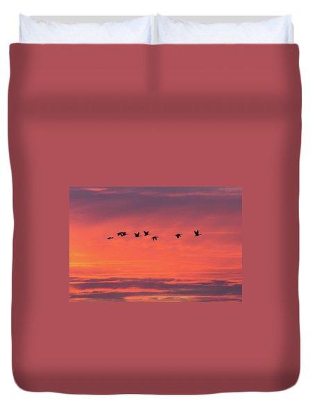 Horicon Marsh Geese Duvet Cover