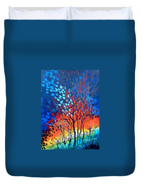 Duvet Cover featuring the painting Horizons by Linda Shackelford