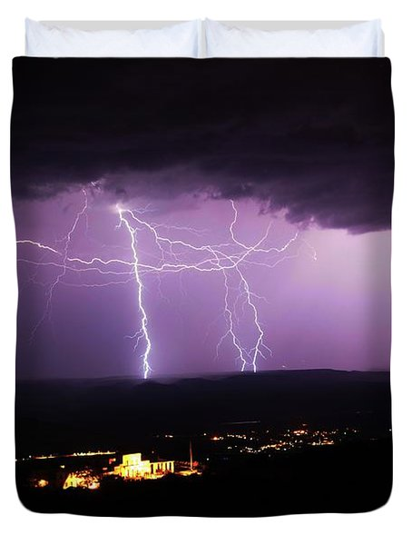 Horizontal And Vertical Lightning Duvet Cover