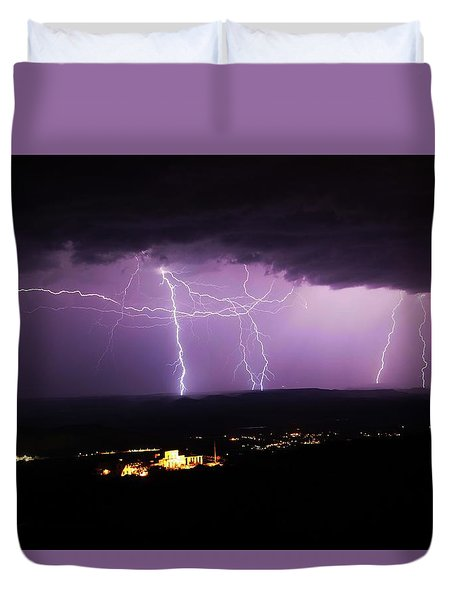 Duvet Cover featuring the photograph Horizontal And Vertical Lightning by Ron Chilston