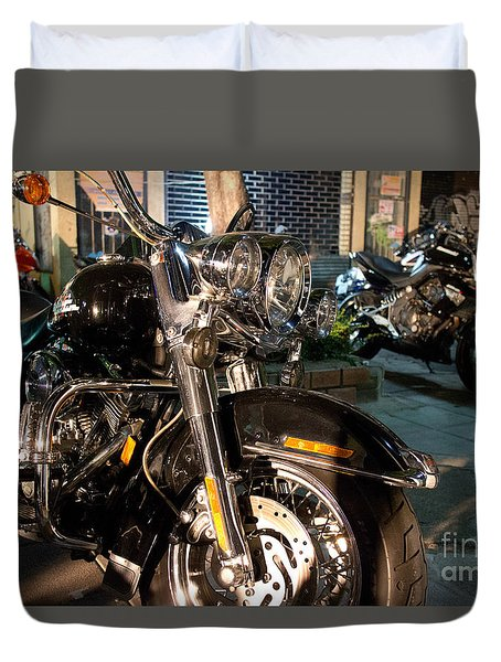 Duvet Cover featuring the photograph Horizontal Front View Of Fat Cruiser Motorcycle With Chrome Fork by Jason Rosette
