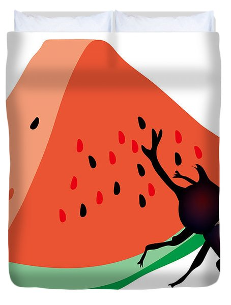 Horn Beetle Is Eating A Piece Of Red Watermelon Duvet Cover
