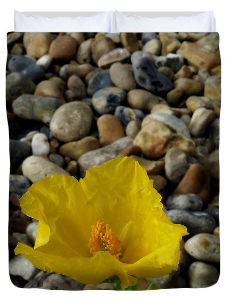 Horned Poppy And Pebbles Duvet Cover