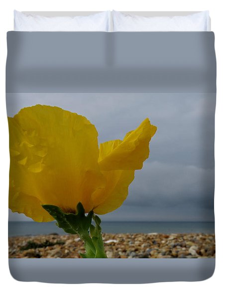 Horned Poppy By The Sea Duvet Cover