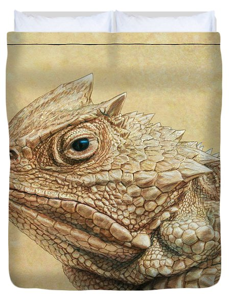 Duvet Cover featuring the painting Horned Toad by James W Johnson