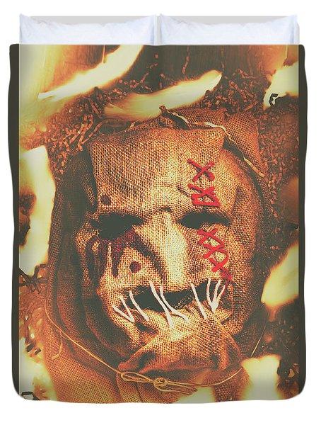 Horror Scarecrow Portrait Duvet Cover