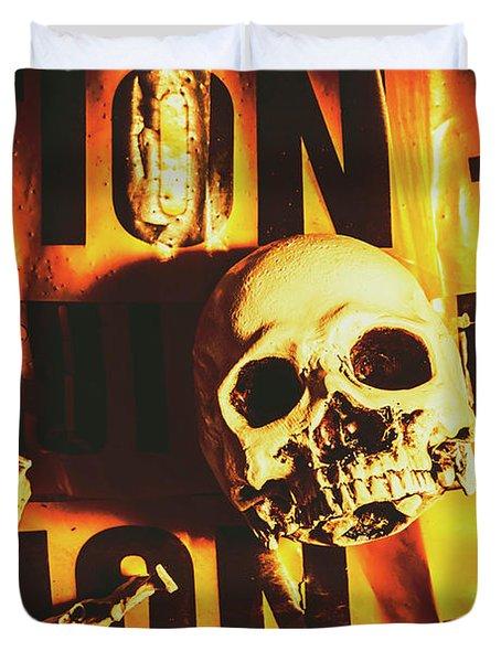 Horror Skulls And Warning Tape Duvet Cover