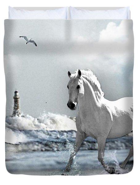 Horse At Roker Pier Duvet Cover