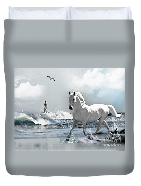 Horse At Roker Pier Duvet Cover