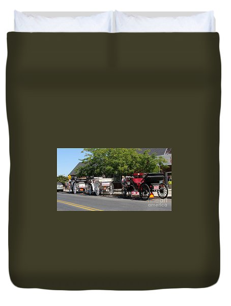 Duvet Cover featuring the painting Horse And Carriage Ride by Rod Jellison