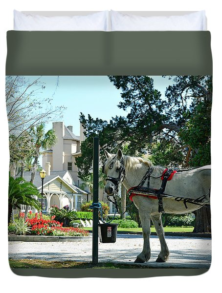 Horse And Jekyll Lsland Club Hotel Duvet Cover by Bruce Gourley