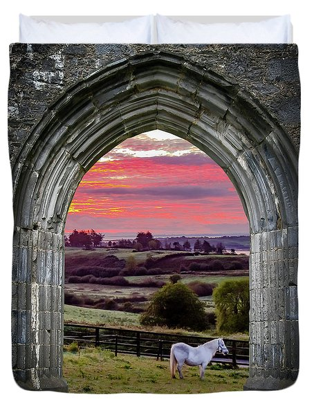 Duvet Cover featuring the photograph Horse At Sunrise In County Clare by James Truett