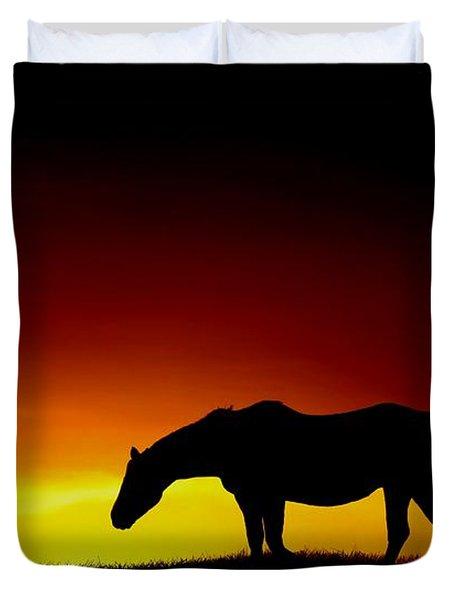 Horse At Sunset Duvet Cover