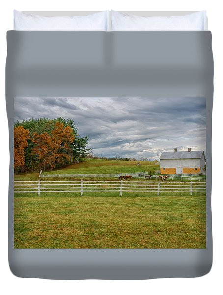 Horse Barn In Ohio  Duvet Cover
