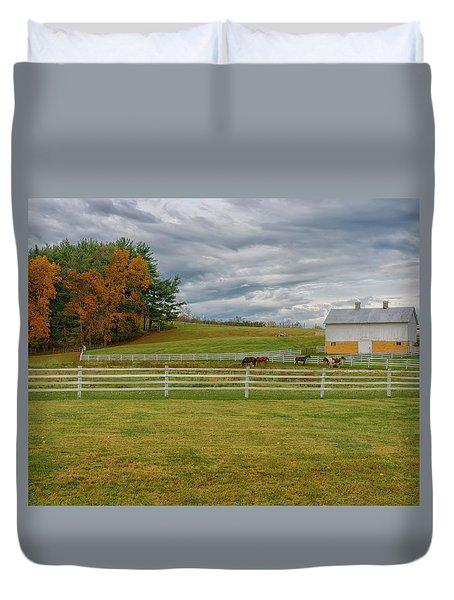 Horse Barn In Ohio  Duvet Cover