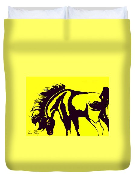 Horse-black And Yellow Duvet Cover by Loxi Sibley