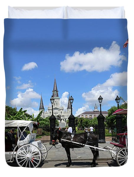 Horse Carriages Duvet Cover