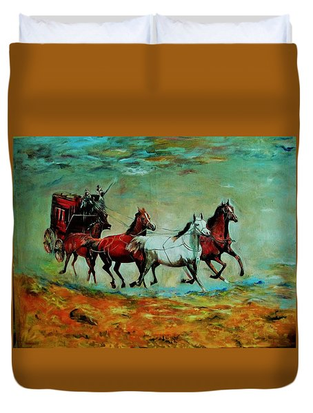 Horse Chariot Duvet Cover by Khalid Saeed