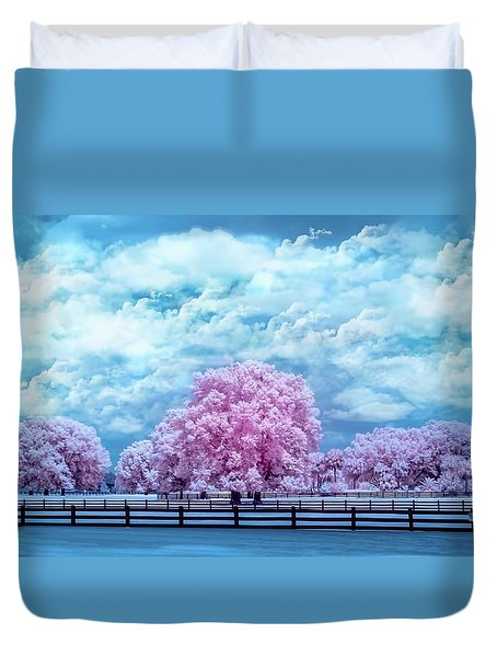 Duvet Cover featuring the photograph Horse Country In Pink by Louis Ferreira