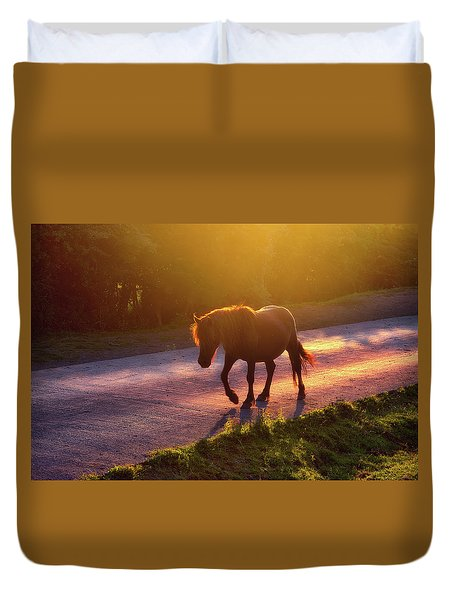 Horse Crossing The Road At Sunset Duvet Cover