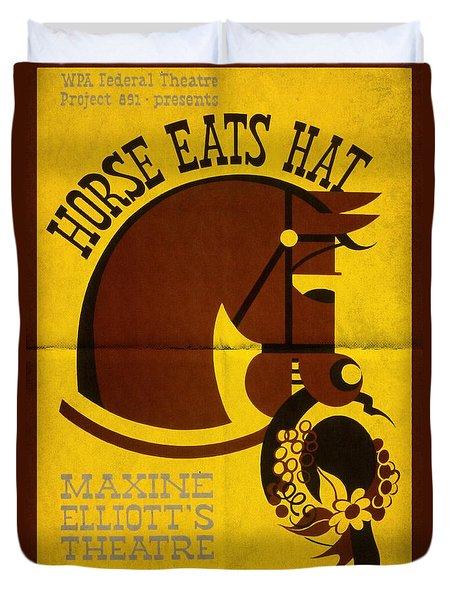 Horse Eats Hat - Maxine Elliot's Theatre - Vintage Poster Folded Duvet Cover