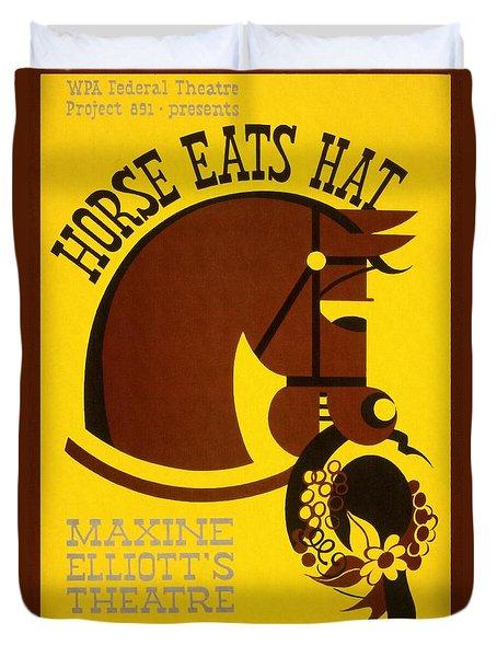 Horse Eats Hat - Maxine Elliot's Theatre - Vintage Poster Restored Duvet Cover