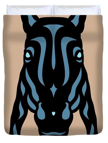 Horse Face Rick - Horse Pop Art - Hazelnut, Niagara Blue, Island Paradise Blue Duvet Cover