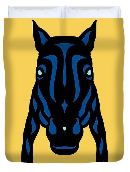 Horse Face Rick - Horse Pop Art - Primrose Yellow, Lapis Blue, Island Paradise Blue Duvet Cover