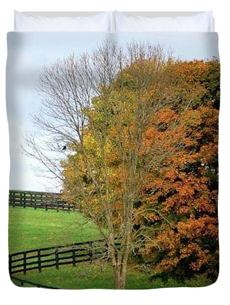 Horse Farm Country In The Fall Duvet Cover