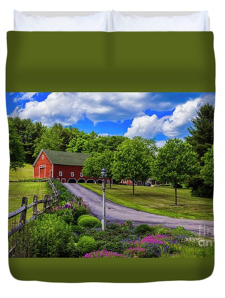 Horse Farm In New Hampshire Duvet Cover