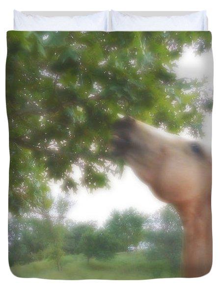 Horse Grazes In A Tree Duvet Cover