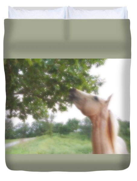 Duvet Cover featuring the digital art Horse Grazes In A Tree by Jana Russon