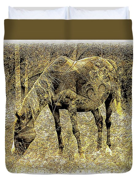 Horse Grazing On Pasture 2 Duvet Cover