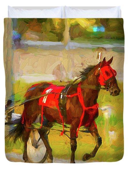 Horse, Harness And Jockey Duvet Cover