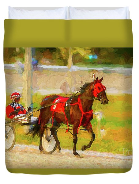 Horse, Harness And Jockey Duvet Cover by Les Palenik